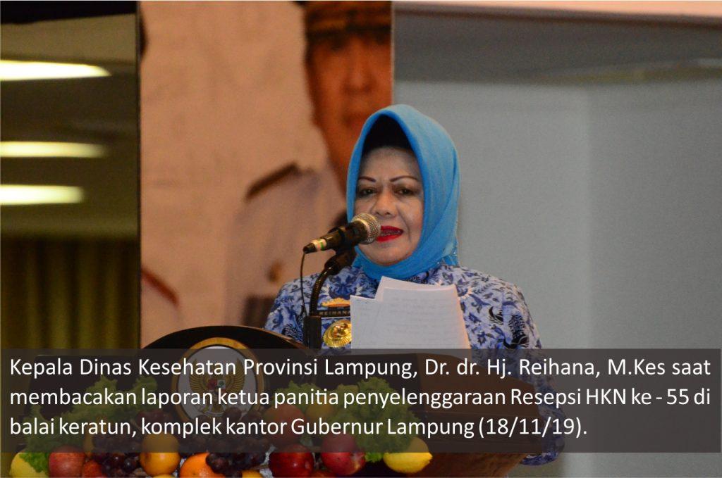 kadinkes prov lampung membacakan laporan panitia hkn ke - 55 tahun 2019